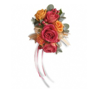 Sunset Beauty Wristlet in Fairfield CT, Glen Terrace Flowers and Gifts