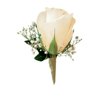 White Ice Rose Boutonniere in Fairfield CT, Tom Thumb Florist