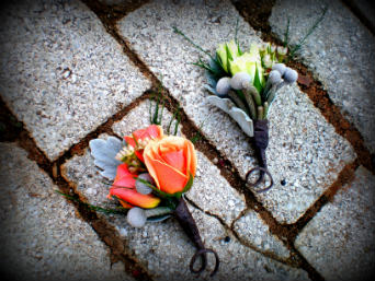 Peach and White Boutonni�re in Alpharetta GA, Flowers From Us