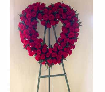 Red Rose Heart Standing Spray in Carmichael CA, Bettay's Flowers