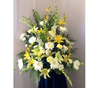 Yellow & White Funeral Arrangement in Carmichael CA, Bettay's Flowers