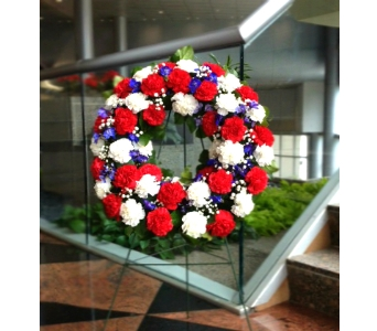 21 INCH PATRIOTIC WREATH FOR GRAVESITE DELUXE in Arlington VA, Twin Towers Florist