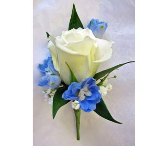 Touch of Blue Boutonniere in Amherst NY, The Trillium's Courtyard Florist