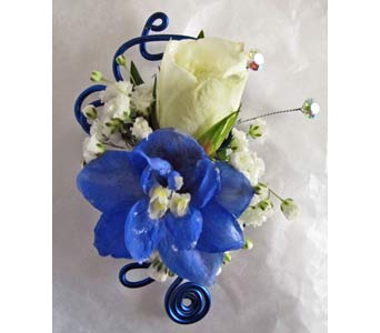 Blue Wire Boutonniere in Amherst NY, The Trillium's Courtyard Florist