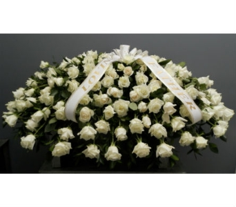 White Rose Casket Spray in Somerset NJ, Flower Station