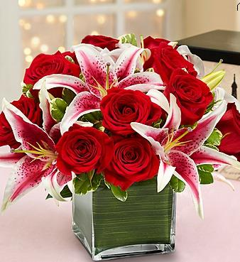 Modern Embrace Red Roses and Lilies in Allentown PA, Ashley's Florist