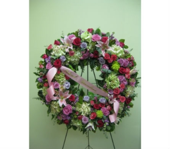 Pink & Lavender Wreath in Somerset NJ, Flower Station