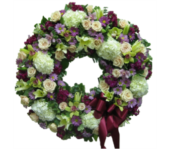 White, Purple, and Lavender Wreath in Somerset NJ, Flower Station