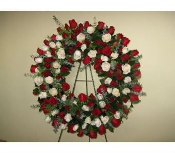 Red & White Rose Wreath in Somerset NJ, Flower Station