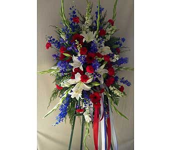 Red white and blue spray on an easel in Carmichael CA, Bettay's Flowers