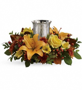 Glowing Gathering Centerpiece by Teleflora in San Diego CA, Flowers Of Point Loma