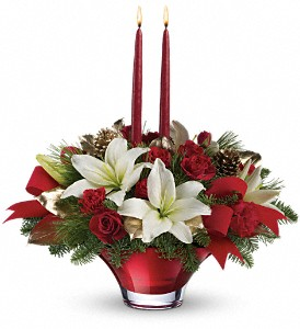 Teleflora's Crimson Glow Centerpiece in San Jose CA, Almaden Valley Florist