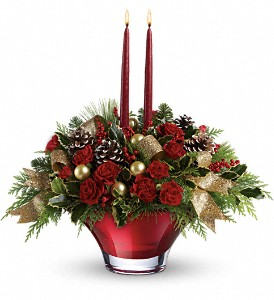Teleflora's Holiday Flair Centerpiece in Fredericksburg VA, Finishing Touch Florist