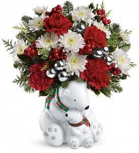 Teleflora's Send a Hug Cuddle Bears Bouquet in Sylmar CA, Saint Germain Flowers Inc.