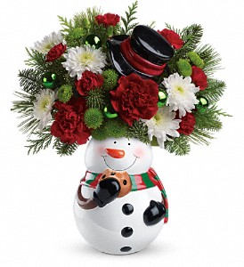 Teleflora's Snowman Cookie Jar Bouquet in Cocoa FL, A Basket Of Love Florist