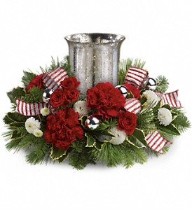 Teleflora's Holly Jolly Centerpiece in Fort Lauderdale FL, Brigitte's Flowers Galore