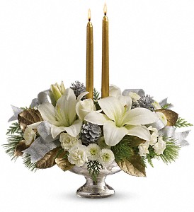 Teleflora's Silver And Gold Centerpiece in Cheyenne WY, The Prairie Rose