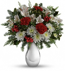 Teleflora's Silver And Snowflakes Bouquet in Redwood City CA, A Bed of Flowers