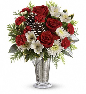 Teleflora's Timeless Cheer Bouquet in Pekin IL, The Greenhouse Flower Shoppe