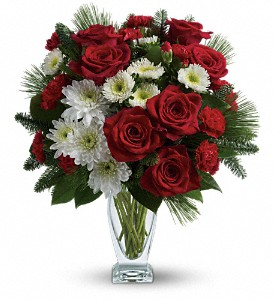 Teleflora's Winter Kisses Bouquet in Redwood City CA, A Bed of Flowers