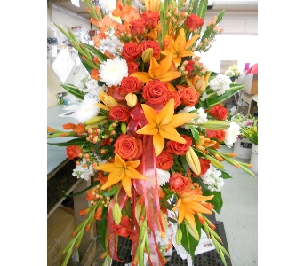 Deep Sunset Standing Spray in Nashville TN, Emma's Flowers & Gifts, Inc.