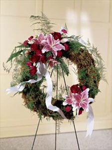 Lily and Rose Wreath in Clearwater FL, Hassell Florist