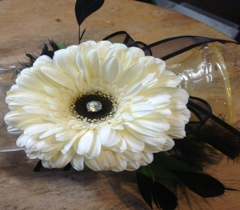 White Gerbera Corsage in Guilford CT, Guilford White House Florist