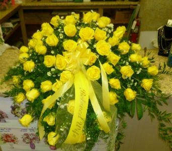 Yellow Rose Casket Spray In Frankfort IL The Flower Cottage