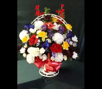Silk Funeral Basket - Medium in Pensacola FL, R & S Crafts & Florist