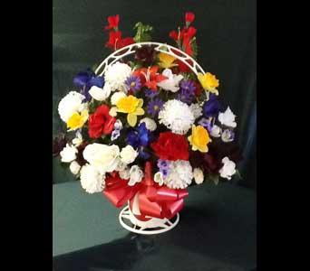 Silk Funeral Basket - Medium in Pensacola FL, R & S Crafts & Florist