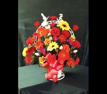 Silk Funeral Basket - Large in Pensacola FL, R & S Crafts & Florist