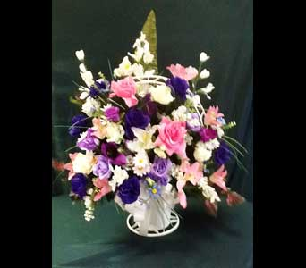 Silk Funeral Basket w/Roses- Extra Large in Pensacola FL, R & S