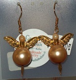 Gold Pearl Angel Earrings in Lawrence KS, Englewood Florist