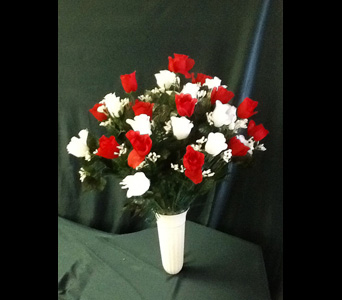 Graveside Poke Down - Silk Rose Arrangement - Med in Pensacola FL, R & S