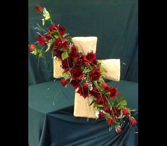Faux Stone Cross w/Silk Roses in Pensacola FL, R & S Crafts &
