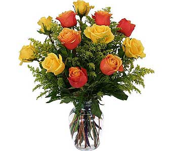 Dozen Orange and Yellow Roses in Cocoa FL, A Basket Of Love Florist