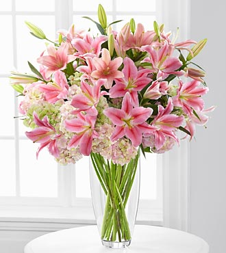 Intrigue Luxury Lily & Hydrangea Bouquet - 22 Stem in Hollister CA, Barone's Westlakes Balloons and Gifts
