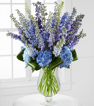 Honestly Luxury Delphinium & Hydrangea Bouquet  in Hollister CA, Barone's Westlakes Balloons and Gifts