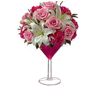 Cosmopolitan Martini with roses Bouquet in Santa Monica CA, Edelweiss Flower Boutique