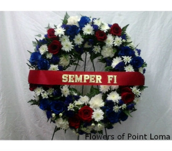 Red,white & Blue wreath in San Diego CA, Flowers Of Point Loma