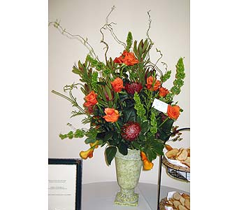 Orange Roses, Pincushion Protea and Bells of Ireland in Vacaville CA, Pearson's Florist