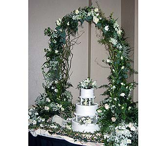 Wedding Cake with Floral Arch in Vacaville CA, Pearson's Florist
