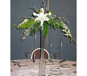 Pedestal Centerpiece with Orchids and Lillies in Vacaville CA, Pearson's Florist