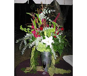 Arrangement of Lillies, Bells of Ireland and Amararanth in Vacaville CA, Pearson's Florist