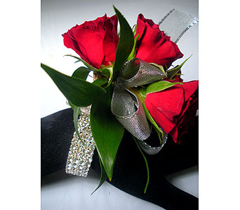 Red Elegance Wrist Corsage in Detroit and St. Clair Shores MI, Conner Park Florist