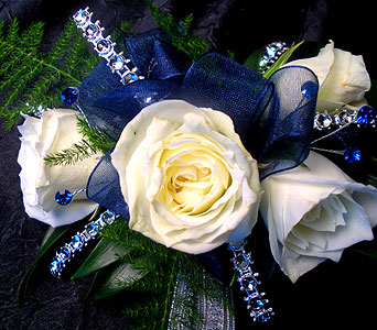 Blue Dazzle Wrist Corsage in Detroit and St. Clair Shores MI, Conner Park Florist