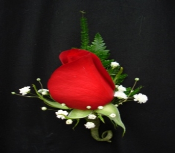 Classic Red Rose Boutonniere in Medfield MA, Lovell's Flowers, Greenhouse & Nursery