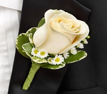 White Rose Boutonniere in Medfield MA, Lovell's Flowers, Greenhouse & Nursery