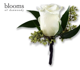 White Rose Boutonniere in Dunwoody GA, Blooms of Dunwoody