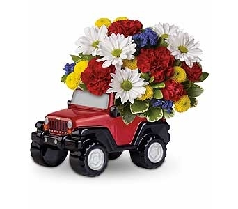 Jeep Wrangler Blazing Trails Bouquet in Columbus OH, OSUFLOWERS .COM
